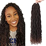 6 Packs Goddess Senegalese Twist Crochet Hair 20 Inch Wavy Senegalese Braids Pre Looped Ombre Hair Extensions Curly End Kanekalon Synthetic Crochet Hair for Black Women (18Strands/Pack,T30)