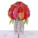 Paper Love Roses Bouquet Pop Up Card, Handmade 3D Popup Greeting Cards for Valentines Day, Mothers Day, Wedding, Anniversary, Love, Romance, Thank You, Thinking of You, All Occasion   5' x 7'