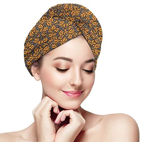 Enveloppement de cheveux à séchage rapide, motif inspiré de l'aile papillon Style de camouflage primitif Bonnet de douche simple et absorbant