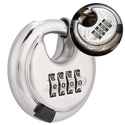 Vipxyc Stainless Steel Rust Door Padlock Key, 4-dial combination lock design, Made stainless steel, for the use in cabinets, door handles