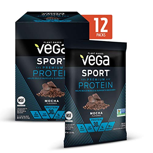 Vega Sport Premium Protein Powder, Mocha, Plant Based Protein Powder for Post Workout - Certified Vegan, Vegetarian, Keto-Friendly, Gluten Free, Dairy Free, BCAA Amino Acid (Single Serve 12 Count)