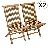 Beneffito SALENTO - Conjunto de 2 sillas de jardín Plegables en Teca Natural para Exterior (X2)