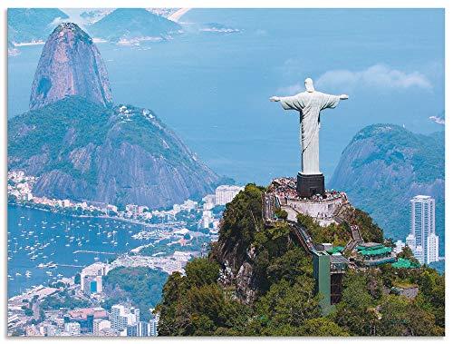 Artland Wandbild Alu für Innen & Outdoor Metall Bild 80x60 cm Architektur Gebäude Sehenswürdigkeiten Fotografie Blau Rio de Janeiro mit Cristo T4SB