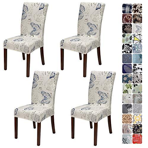 JOTOM Stuhlhussen Universal Stretch Stuhlbezug Elastische Moderne Stuhl Hussen Set Abnehmbare Dekoration Stuhlabdeckung für Esszimmer Party Hotel Restaurant Deko (Schmetterling, 4er Set)