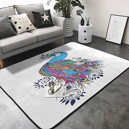 Floor Mat for Toilet Non Slip Colorful Fashion Art with Peacock Pattern Stylish Ornament Paisley Oriental 60'x 72' Multi-Color Modern Area Rug
