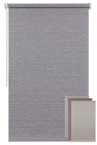 Der Jalousienladen EFIXS Minirollo - Modell: Natura - grau - OHNE Bohren - Stoffbreite: 60 cm - Höhe: 230 cm - seitlich verspannt - Sichtschutz - lichtdurchlässig
