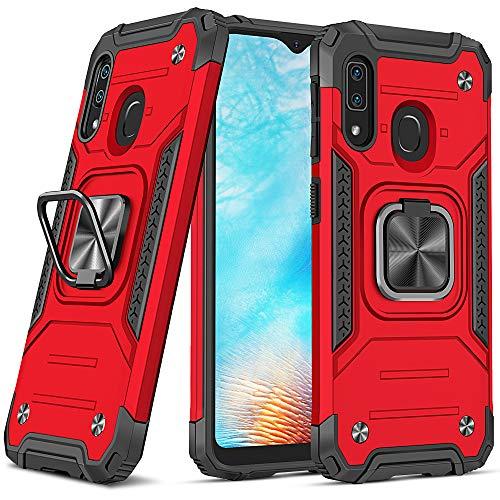 DASFOND Diseñado para Funda Galaxy A20e, Funda Protectora de Grado Militar para teléfono con Soporte de Anillo de Metal Mejorado [Soporte magnético] Compatible con Samsung Galaxy A20e, Rojo