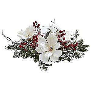 Nearly Natural Artificial White Green 1 Frosted Magnolia and Berry Candelabrum