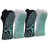 HYCLES Yoga Socken Anti-Rutsch-Socken 41-43 für Damen Pilates, Yoga, Barre, Tanz, Ballett, Trampolin Schwarz*2+Grau*2