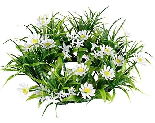 dekojohnson künstlicher Blumenkranz Frühjahrskranz Sommerkranz Wandkranz Türkranz Frühling grün Weiss Gänseblümchen Ø 26cm