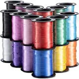 Curling Ribbon (Bulk 15 Rolls) Assorted Colors, for Fabric Ribbon, Arts and Crafts, Hair, Gifts, Wrapping, Balloons, Florist, Flowers, 60 Feet Each