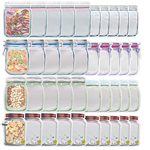 40 PC Mason Jar Zip Beutel Taschen Mason Jar Flaschen Beutel Große Mittel Größe Wiederverwendbare Gefrierbeutel,Mason Bag,Snack-Tasche,Lebensmittel-Aufbewahrungstasche