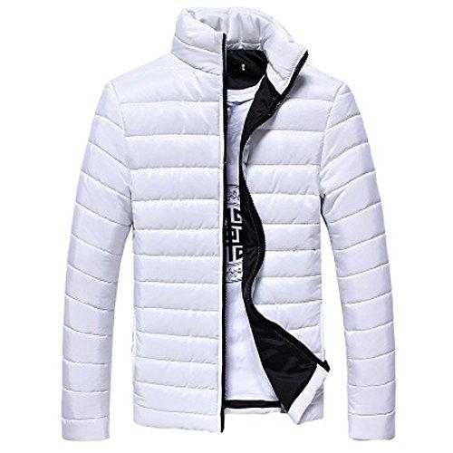 FRAUIT Piumino Uomo Leggero Cappotto Invernale Caldo Giacca Giubbotto A Manica Lunga Outdoor Jacket Cappotti Blu Marino Corto di Inverno Parka (S, Bianca)