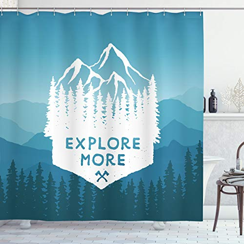 """Ambesonne Vintage Shower Curtain, Explore More on Foreground of Mountain Range with Pine Tree Forms Nature Adventure, Cloth Fabric Bathroom Decor Set with Hooks, 70"""" Long, White Navy"""