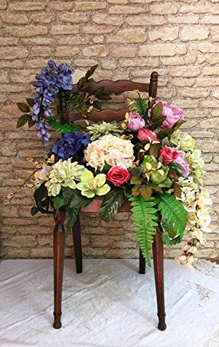 La Favola Incantata® - STUHL FLOWER BOX SHABBY VINTAGE LAND IN NUSSBAUM italienischer Sprache mit BLUMENAUFBAU H 90 W 40 D 40 CM