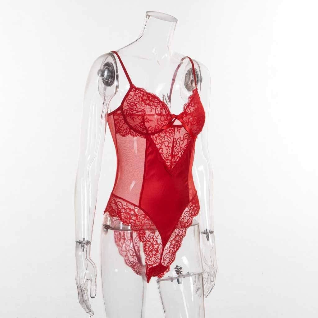 Intimates for Women, Fashion Women Sexy Lace Lingerie Bodysuit Backless Jumpsuit Red Underwear S-3XL