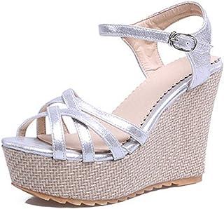 BalaMasa Womens ASL06404 Pu Wedges Sandals