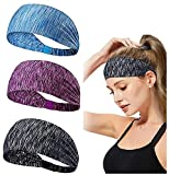 kuou 3 Pack Women Workout Headband, Yoga Sports Headband Lightweight Soft Wicking Stretchy Head Wrap for Women Sports Yoga Dancing Running Fitness Exercise (3 Colors)