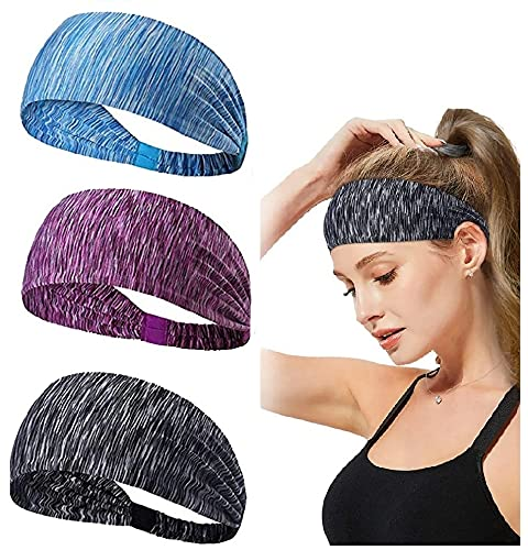 kuou 3 Pack Women Workout Headband Yoga Sports Headband Lightweight Soft Wicking Stretchy Head Wrap for Women Sports Yoga Dancing Running Fitness Exercise 3 Colors