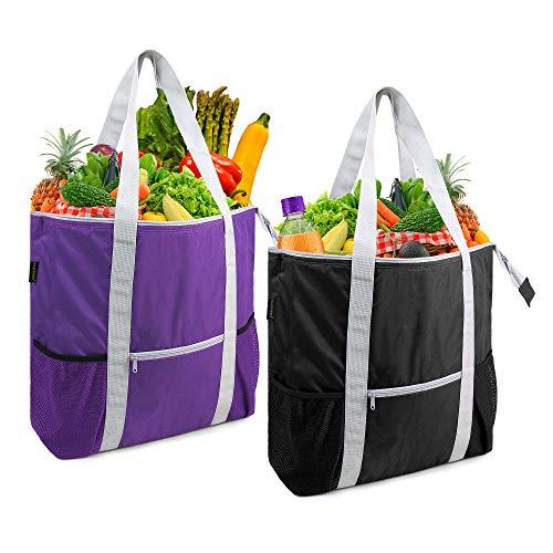 BeeGreen Isolierte Kühltasche für Einkäufe für heiße kalte gefrorene Lebensmittel Transport Tragbare Thermo-Liefertasche mit Reißverschluss oben Ständer aufrecht schwarz lila