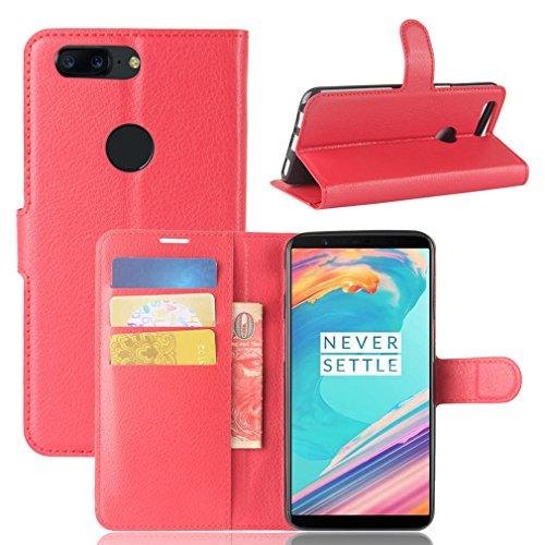 LMAZWUFULM Hülle für OnePlus 5T (6,01 Zoll) PU Leder Magnetverschluss Brieftasche Lederhülle Litschi Muster Standfunktion Ledertasche Flip Cover für OnePlus 5T Rot