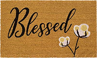 Blessed Cotton Bloom Door Mat, All Natural Coir Fiber with PVC Backing, 17x29 ADR016