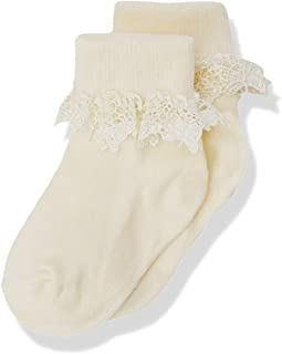 355 Butterfly Lace Sock Calcetines, Marfil (Ivory), Talla Única (talla del fabricante: 0-2.5) para Niñas