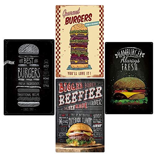 Zidao Blechschild Burger Bilder Modern Deko,Best in Town Hamburgers Retro Vintage Tin Sign Poster Style Wall Art Pub Bar Decor,Schwarz