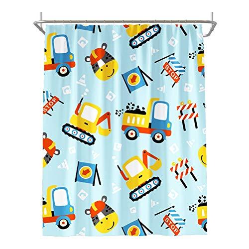 Dusche Kind-Vorhang Polyester Duschvorhang for Badezimmer Duschen, Abtrennungen und Badewannen, maschinenwaschbar (Farbe : Blau, Größe : 80 * 180cm)