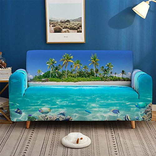 HXTSWGS Sofa Cover Protección de Muebles,3D Print Dolphin Sofa Cover, Stretch Slipcovers, Sectional Elastic Sofa Cover for Living Room Couch Cove-SFW011_4-Seater 235-300cm