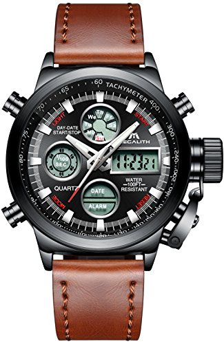 MEGALITH Relojes Hombre Digitales Militar Relojes Grandes LED Reloj de Pulsera Analogico Digital Deportivo Relojes de Hombre Cuero Impermeable Electrónico Cronometro Calendario - Marrón Negro