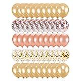 50 piezas decorativas globos de confeti de oro rosa de látex con lentejuelas fiesta cumpleaños boda festival decoraciones para fiestas - oro rosa