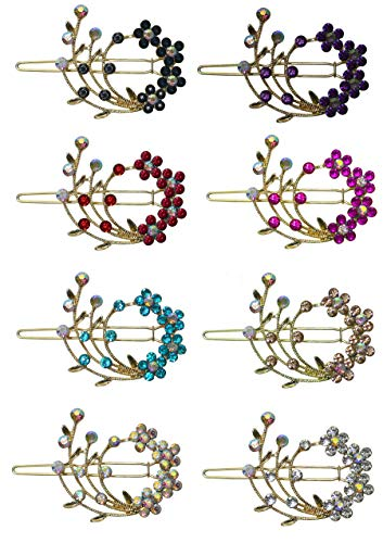 - 8 Barrettes with Snap On Clip for Thin Hair or for Young Girls U86200-2108-8 by Bella