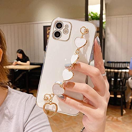 Estuches de galvanoplastia de Lujo para iPhone 12 Mini 11 Pro MAX XS MAX X XR 7 8 Plus Love Heart Wrist Chian Correa Pulsera Estuche para teléfono, Blanco, para iPhone 12 Pro