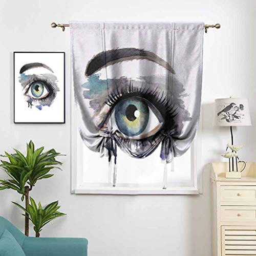 Dasnh Rod Pocket Roman Curtains Hand Painting Style Eye W42 x L72 Hight Blackout Curtains for Kid Room Windows