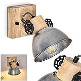 Orny - Lámpara de pared ajustable de metal y madera, color cinc y marrón, 1 foco, 1 casquillo E27 máx. 60 W, aplique de pared en diseño retro/vintage, adecuado para bombillas led