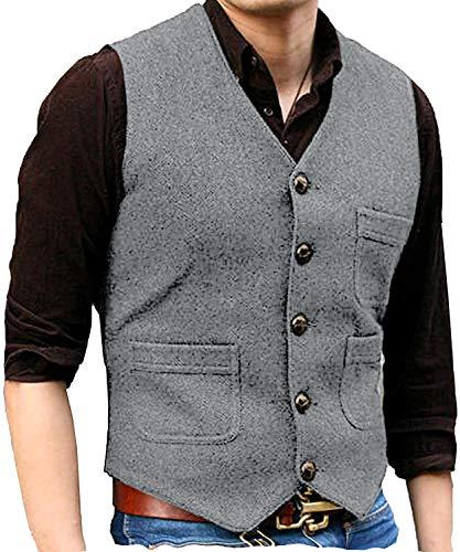 Solove-Suit Herren Wolle Tweed Slim Fit Anzug Weste formelle Groomsmen Weste für Hochzeit nach Maß(L, Silber-Grau)