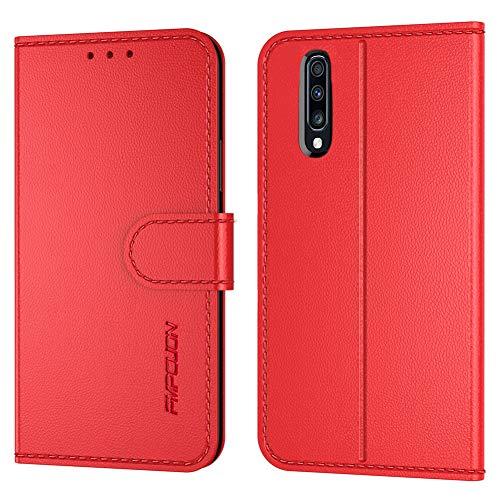 FMPCUON Handyhülle Kompatibel mit Samsung Galaxy A90 5G Hülle Leder PU Leder Tasche,Flip Hülle Lederhülle Handyhülle Etui Handytasche Schutzhülle für Galaxy A90 5G,Rot