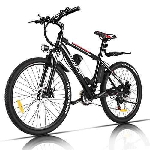 "Vivi Bicicleta Eléctrica 350W, Bicicleta Eléctrica Montaña con Batería Extraíble de 36V/8Ah, Engranajes de 21 Velocidades / 25km/h/Kilometraje de Recarga hasta 40km, 26"""