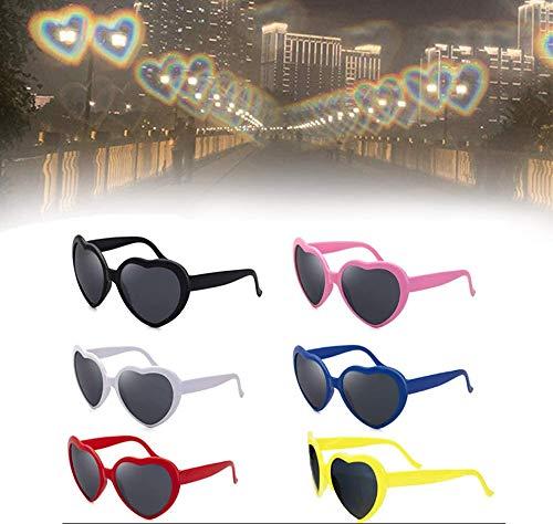 CCSU 6 Stück 3D-Brille Herzen Feuerwerk Beugungsbrille Spezialeffektlicht, Sonnenbrille In Liebesherzform, Mode-Karneval-Brillen Für Raves, Musikfestivals, Feuerwerk, Weihnachtsbeleuchtung Usw.