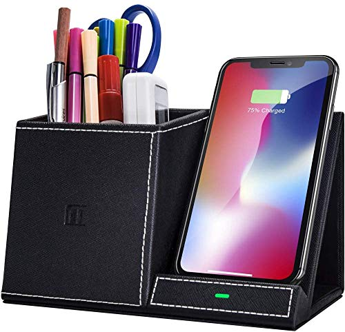 Wireless Charger, Pen Holder Desk Stand Organizer,10W Fast Wireless Charger, Desk Accessories, for iPhone SE 2020/11/11 Pro/11 Pro Max/Xs MAX/XR/XS/X/8,Galaxy S20/Note 10/S10 Plus…