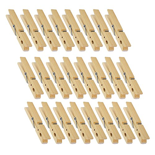 Juvale Wooden Clothespins - 24-Pack Large Clothespins for Shirts Sheets Pants Decor- Made of Natural Wood