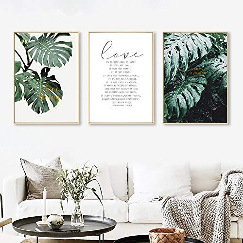AKLIGSD Cuadros Lienzo de Pintura Hojas de Palmeras Love Life para la Sala de Estar, Cocina en el Dormitorio, 50 cm x 70 cm x 3 Piezas (sin Marco)