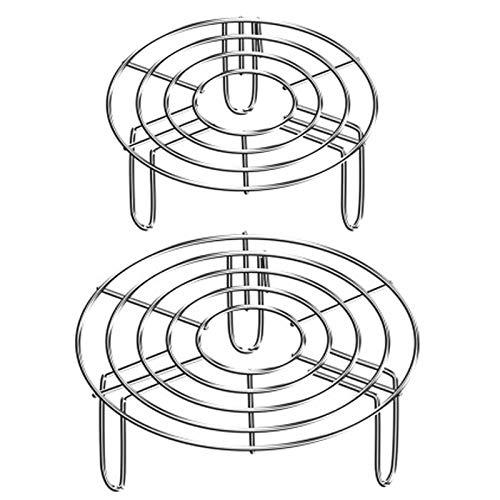 Ångställning i rostfritt stål, 2 st stativ grytunderlägg ångkokare kakställ rund ångkokare rack bakning ångställning två storlekar för matlagning kylning ångande bakning omedelbar kastrull tryckkokare (15,5 cm/19,5 cm)