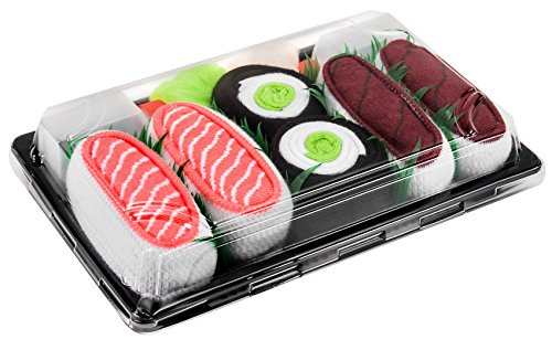 Rainbow Socks - Men's Women's - Sushi Socks Box Tuna Salmon Cucumber Maki - 3 Pairs L