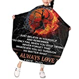 PNNUO To My Son From Dad Basketball Kids Haircut Cape-Haircut Barber Cape Waterproof Hairdresser Cape,Hair Cutting Apron For Kids