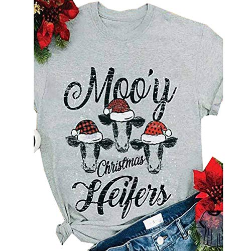 HONROY Women's Funny Moo'y Christmas Heifers Short Sleeve Round Neck Tee T Shirt