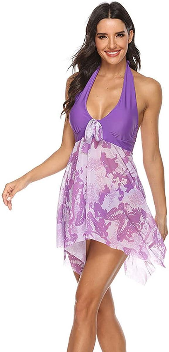 Women Skirt Swimwear Print Halter Swimming Dress Beach Wear Two Piece Swimsuit Bathing Suit Plus Size Tankini