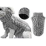 Suéter de punto para mascotas, cuello alto, abrigo, abrigo, abrigo, abrigo, abrigo, de ganchillo, ropa para perros pequeños, medianos y grandes (XL, gris)
