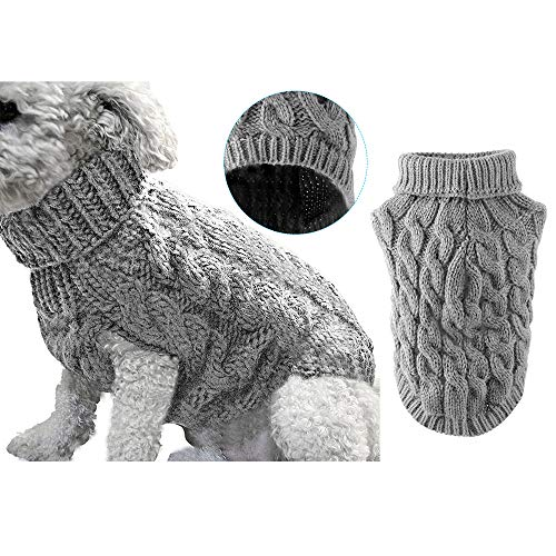 Pet Dog Turtleneck Knitting Sweater Coat Winter Warmer Thickening Pullover Knitwear Crochet Coat Clothes for Small Medium Large Dog Puppy Cat (S, Grey)